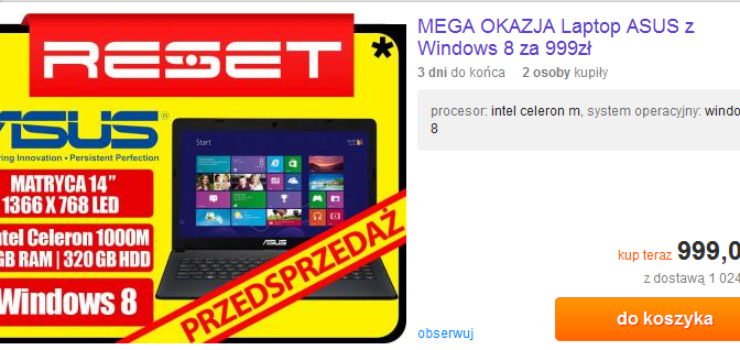 Laptop za 999 zł z windows 8